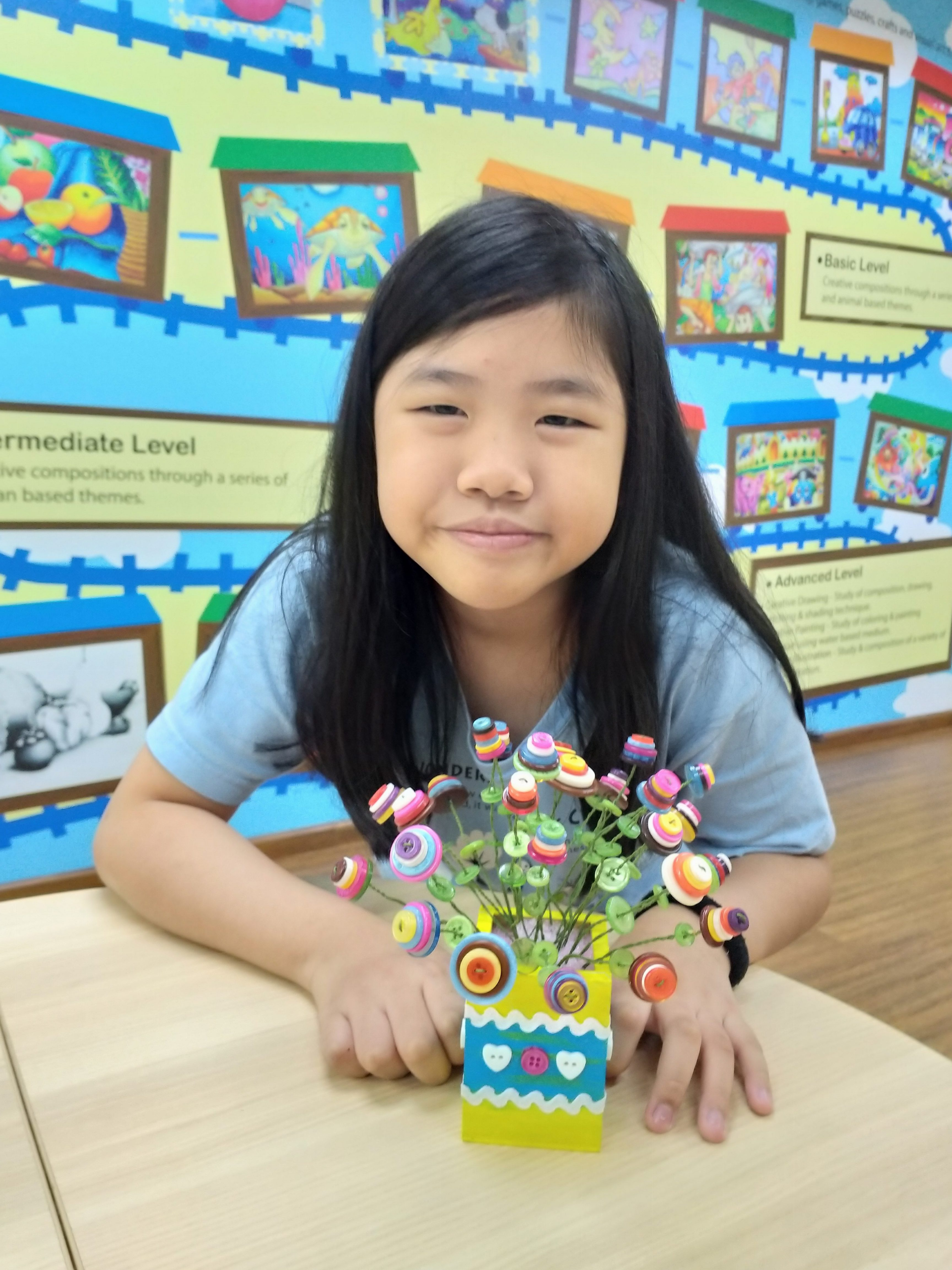 Deco Art Workshop – Flower Bouquet Button Art