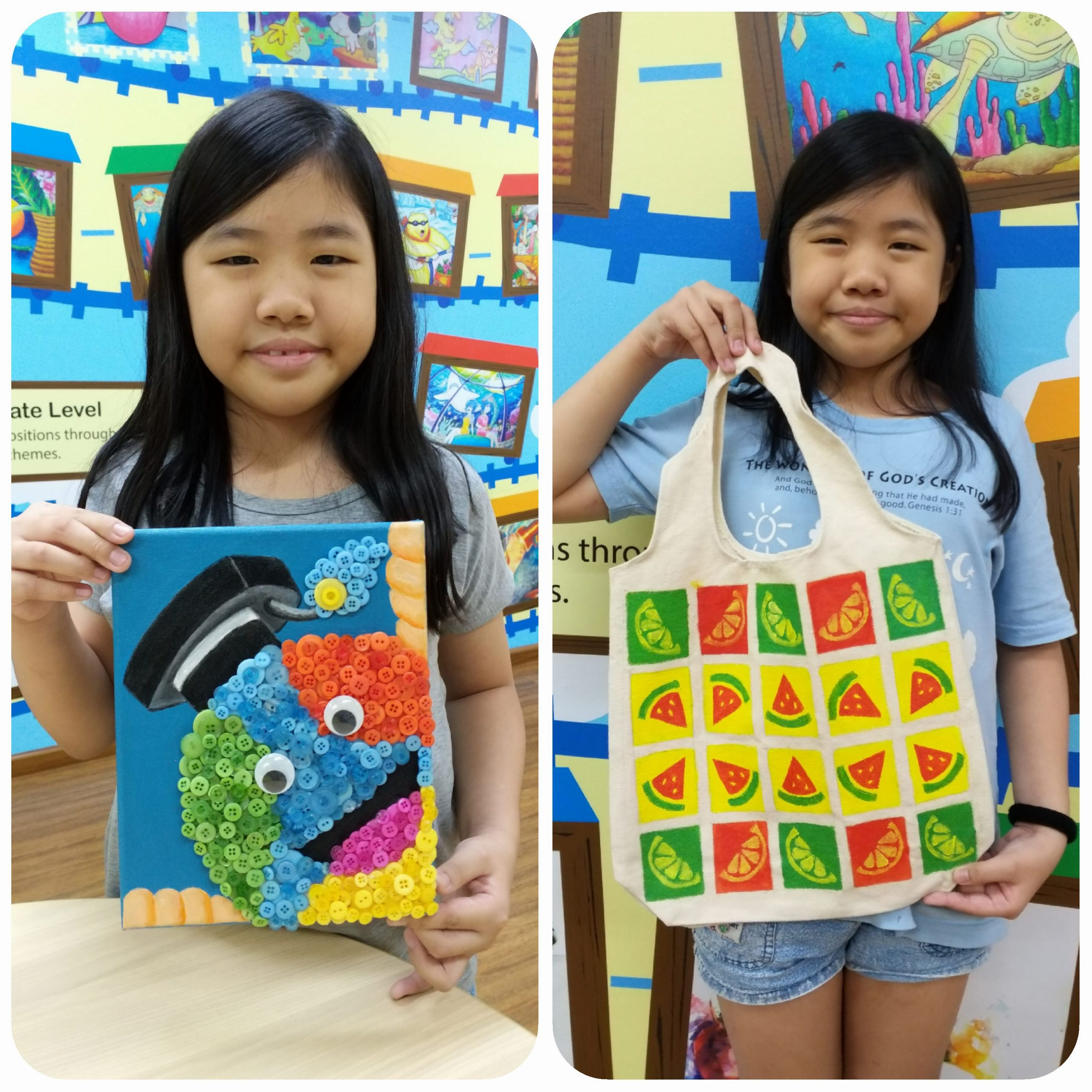 Year End School Holiday Workshop Program 2018 – Button Canvas Art & Tote Bag Art (Fruits)
