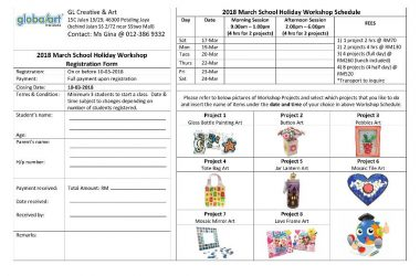 2018 March Deco Art Workshop Schedule