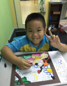 Student having their visual art class.